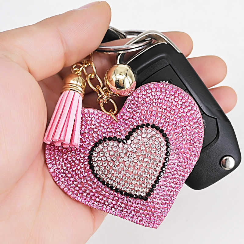 Cute Rhinestone Heart Key Chains Tassel Fashion Jewelry Pendant for Handbags Decoration Phone Accessories Keyring Wedding Gifts