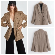 Ladies  plaid suit jacket double-breasted Womens Spring and Autumn Casual office Lady Coat