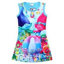 Girls TROLLS Dress Print Imitation Girl Tank Party moana Dress White Red Blue Color Children Clothing Children Poppy Dresses