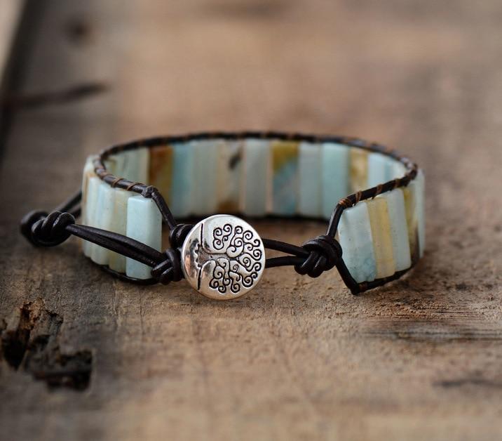 Bracelet en pierre naturelle d'Amazonite | oko oko