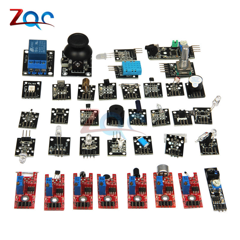 sensor kit 37 in 1 Sensor Kit Module For Arduino Raspberry Pi /joystick/photosensitive/Sound Detection/Obstacle avoidance/buzzer 5pcs rain sensor water raindrops detection module automatic watering rain weather module humidity for arduino raspberry pi
