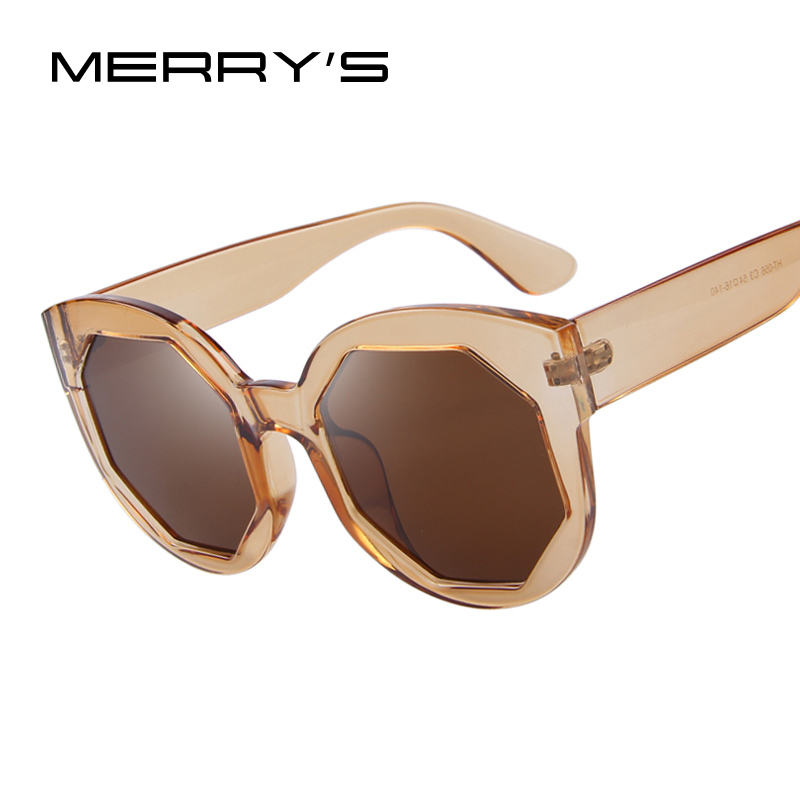 MERRYS Fashion Women Sunglasses Polygon Lens Cat Eye Shades Candy Color Big Frame Glasses UV400