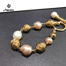 ANI 14K Roll Gold Handmade Women Bracelet Freshwater White Pearl Special Design Fine Jewelry Customized for Lady