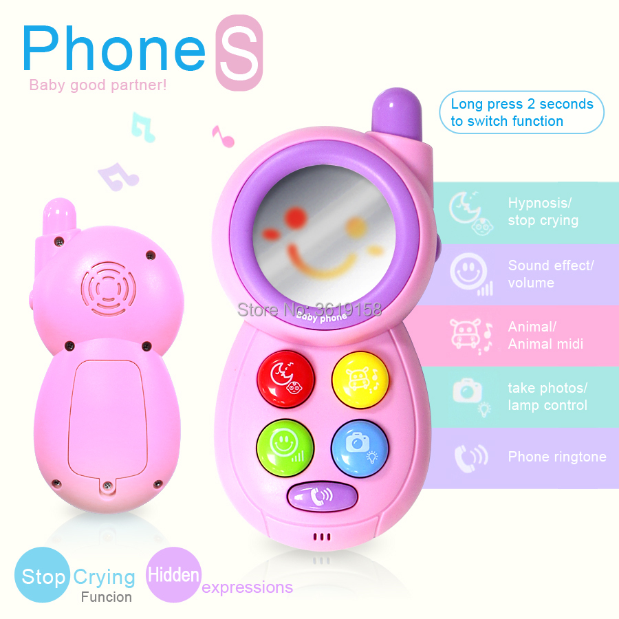 US $9 0 48% OFF|Baby stop crying phone machine musical toy,with mirror  animal sound and light for kid educational smart Mobile Telephone toys-in