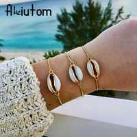 ALIUTOM Böhmischen Strand Shell charme Einstellbar Armband für Frauen Gold Legierung Kette Armbänder Boho Schmuck Zubehör