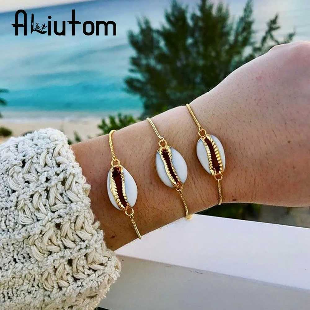 ALIUTOM Bohemian Beach Shell charm Adjustable Bracelet for Women Gold Alloy Chain Bracelets Boho Jewelry Accessories