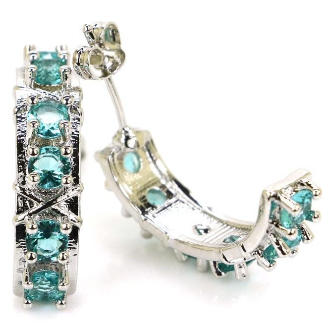 Romantic Rich Blue Aquamarine Womans 925 Silver Stud Earrings 25x6mm
