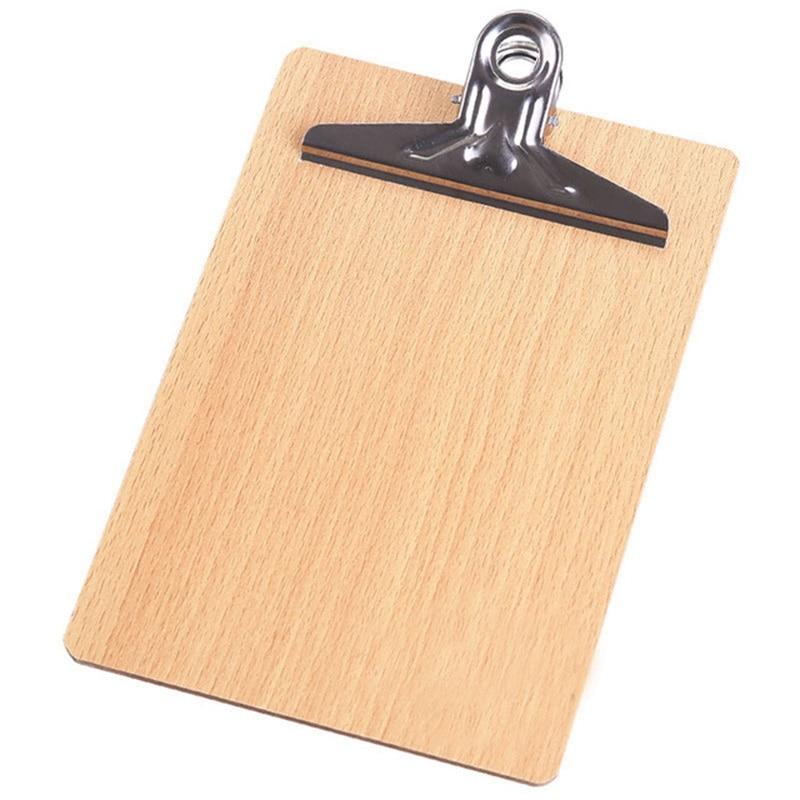 HOT-A4 Wooden Clipboard File Folder Stationary Board Hard Board Writing Plate Clip Document Bag File Folder Clipboard Report O