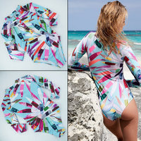 Long Sleeved One Piece Swimsuit Women 2018 Retro Print Floral Swimwear Hot Rash Guard Beach Surfing
