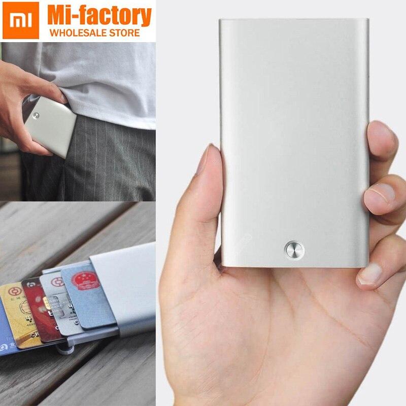 Neue Xiaomi Kreative visitenkarte fall Automatische Pop Up Box Abdeckung karte halter karte metall Brieftasche ID Karte Box Für männer Frauen 70,4g