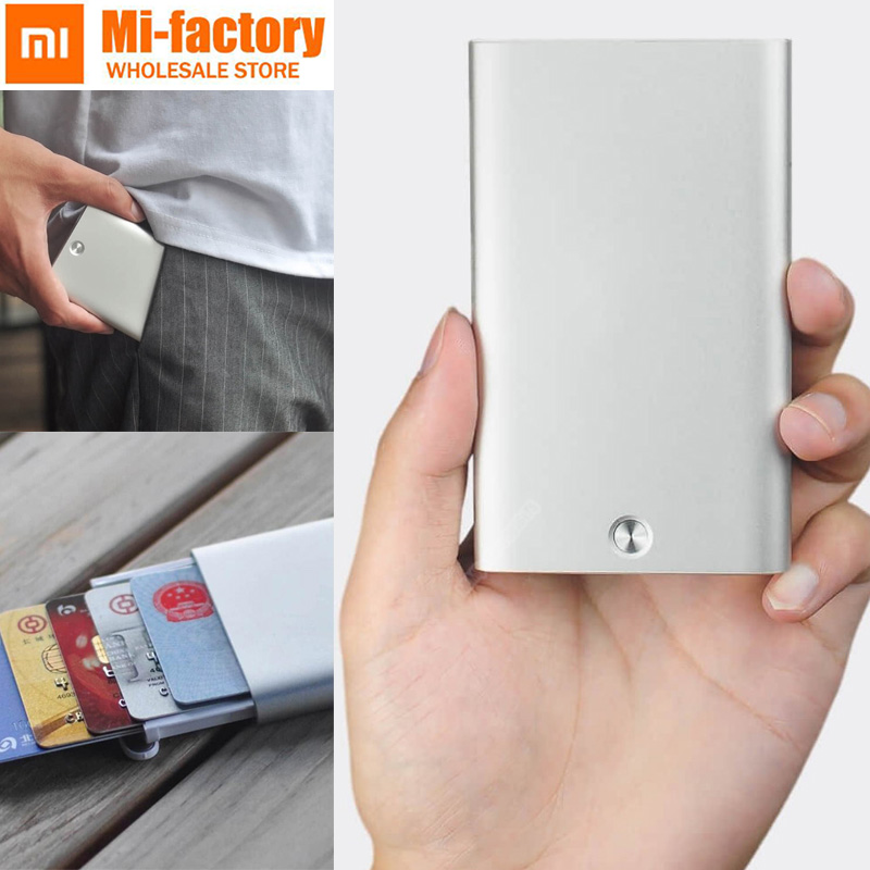цены New Xiaomi Creative business card case Automatic Pop Up Box Cover card holder card metal Wallet ID Card Box For Men Women 70.4g