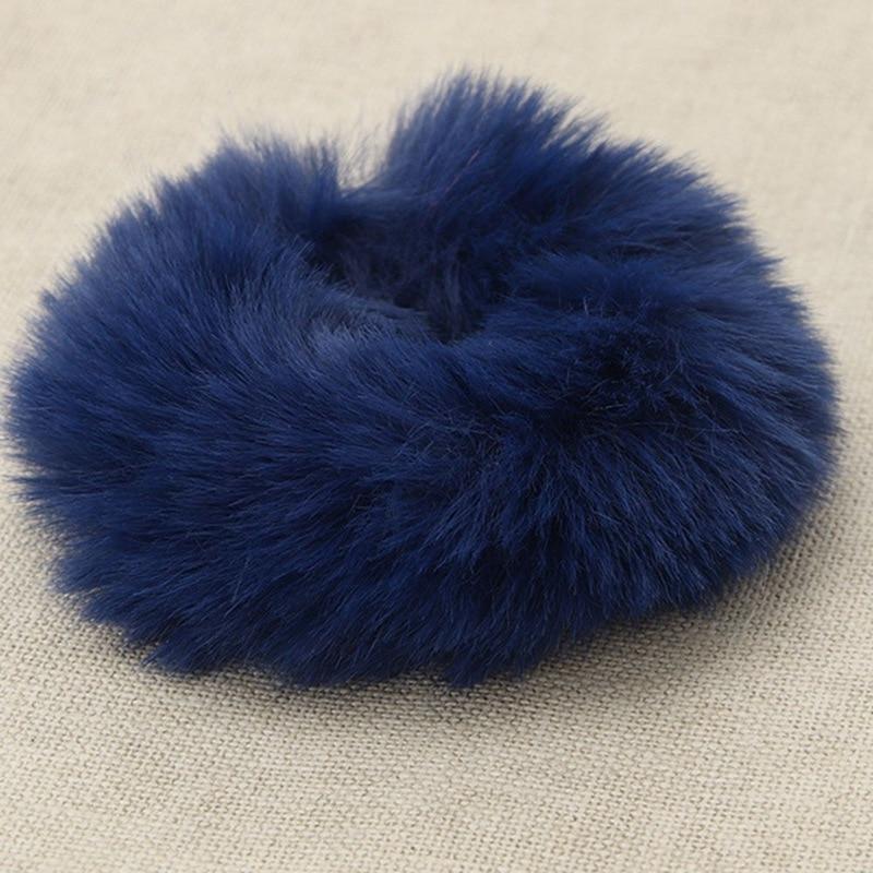 Модная эластичная резинка из искусственного кроличьего меха для девочек, резинка для волос, держатель для хвоста, эластичная плюшевая повязка для волос, кольцо, аксессуары для волос - Цвет: NV