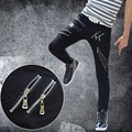 2015 Spring Summer New fashion Brand Casual Black White Fake Zippers slim PU Faux Leather patchwork Trousers mens skinny pants