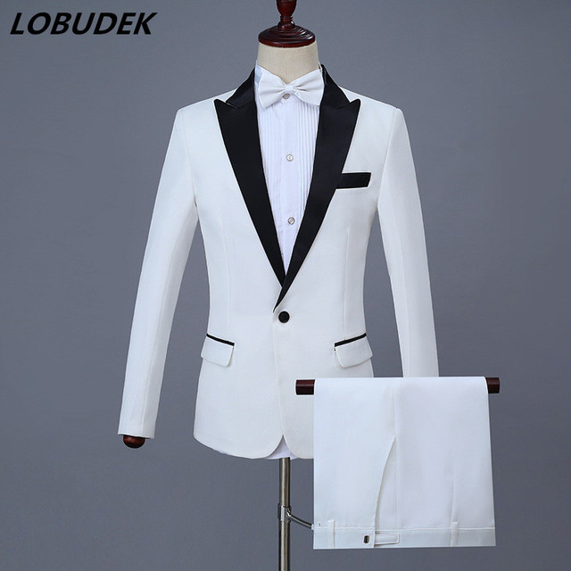 22ca7f5ea9 Male wedding Suit (Jacket+Pants+belt) white red party groom Vogue Palace