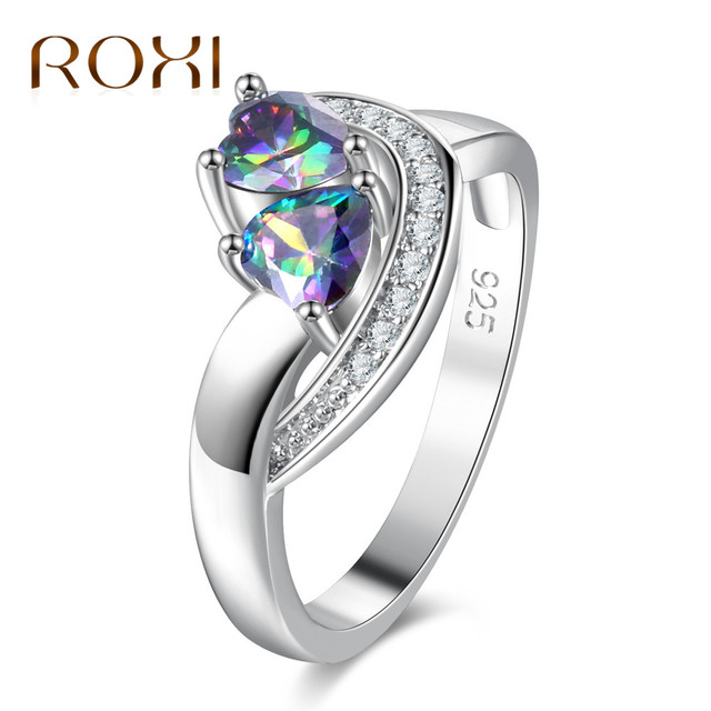 engagement ring affordable rainbow heart jewelry cut white topaz gemstone silver rings fashion lover