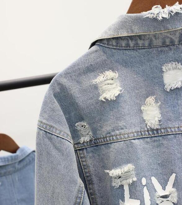 Lâche Denim À Manteau Bleu Manches De Lettres Jeans Imprimer Étudiants 2018 Printemps Longues Femelle Femmes Nouveau Outwear Troué Automne Veste Casual R4YqUvS