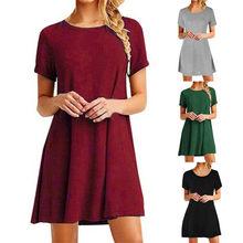 555515eb8b Algodón vestido de camiseta de verano 2018 moda de manga corta de las  mujeres los vestidos diarios rodilla longitud suelta ropa .