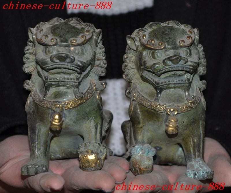 christmas Old Chinese bronze gilt Fengshui foo dog lion palace door Guardian beast statue halloween