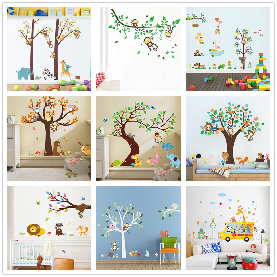 Owls Jungle Animals Wooden Bedroom Furniture Kids: % Forest Animals Tree Wall Stickers For Kids Room Monkey