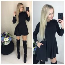 Spring New Casual Women O neck Fit and Flare Pockets Long Sleeve Mini Cute Party Dress