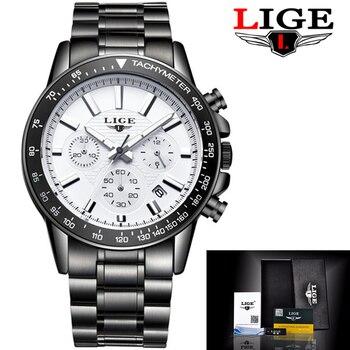 2017 LIGE Chronograph Watches men luxury brand Full steel Sport Quartz Watch Man Waterproof Black Clock Mens Dress Wrist watches lige horloge 2017