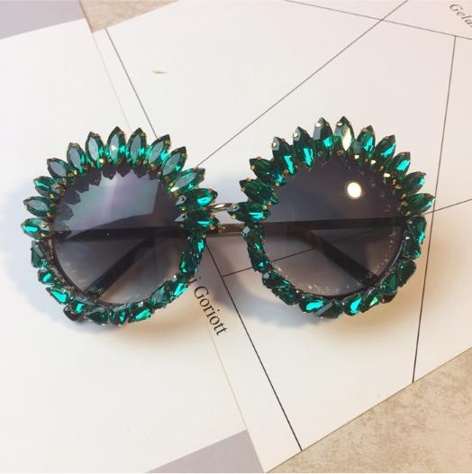 e5e16e551b Acheter Steampunk 2018 designer De Luxe Lunettes de Soleil De cristal pour  les Femmes Strass vert métal lunettes de Soleil rétro lunette de soleil  femme Pas ...