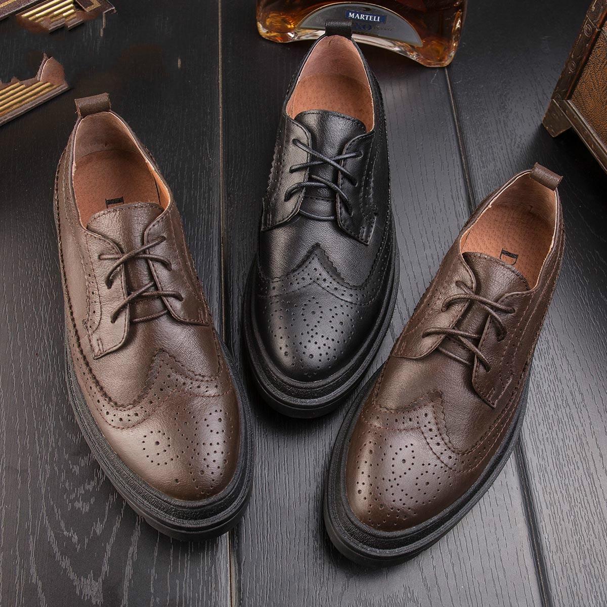 Gruesa Brock Casuales Inglaterra Retro Zapatos Derby Cuero De Hombres marrón Los Nueva Negro Tallado Otoño xn1gfxwv