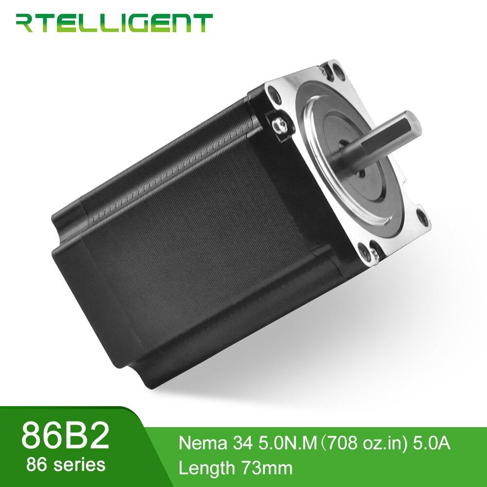 Rtelligent 3 Phases Nema 34 Moteur pas à pas Série 86 Dc Moteur 1.2 degré 5A 4 Plomb 86 Étape Moteur Électrique pour 3D imprimer CNC Kit