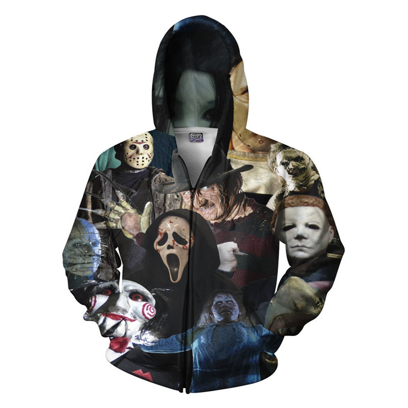 Hoodie Cosplay Clothing Women's clothes Men's wear Halloween Skeleton Pattern Zipper Cosplay Horror Skeleton Pattern BOOCRE