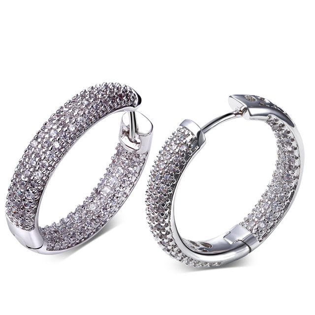 DC1989 High quality Fashion Hoop Earrings for Women Rhodium or Gold Plated Synthetic White Cubic Zirconia Lead Free SE04633