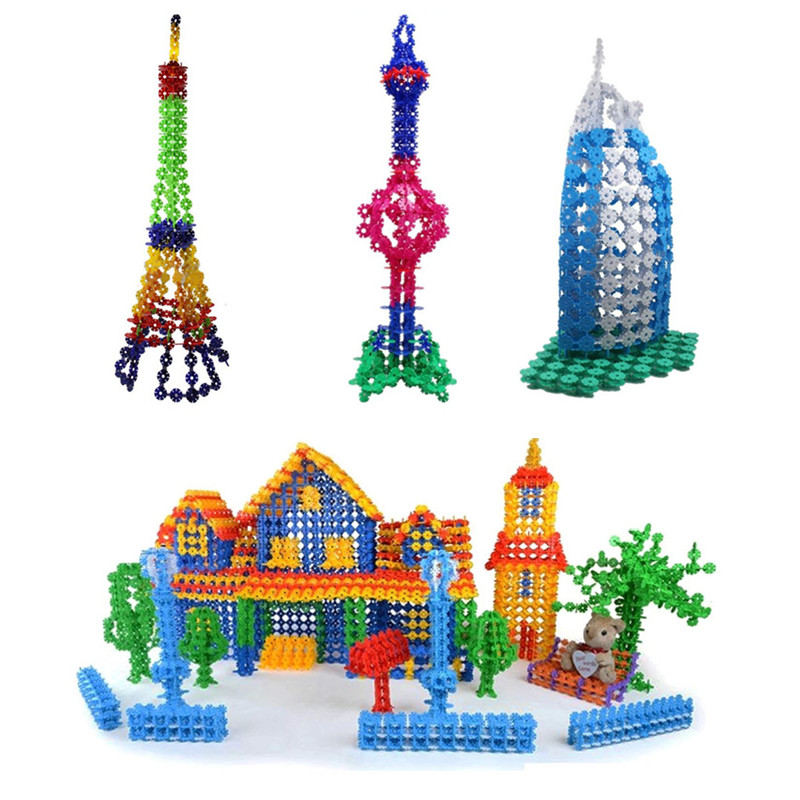 Hot Sale 400 pcs Multicolor Kids Snowflake Building Puzzle Blocks Educational Xmas Toys Bricks DIY Assembling Classic Toy zoyo 3d metal lamp light style metallic building puzzle educational assembling toy