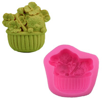 3D Puppy Flower Baskets Shape DIY Soap Mold Soft Pottery Liquid Silicone Cake Mould Fondant Candy Chocolate Baking Molds