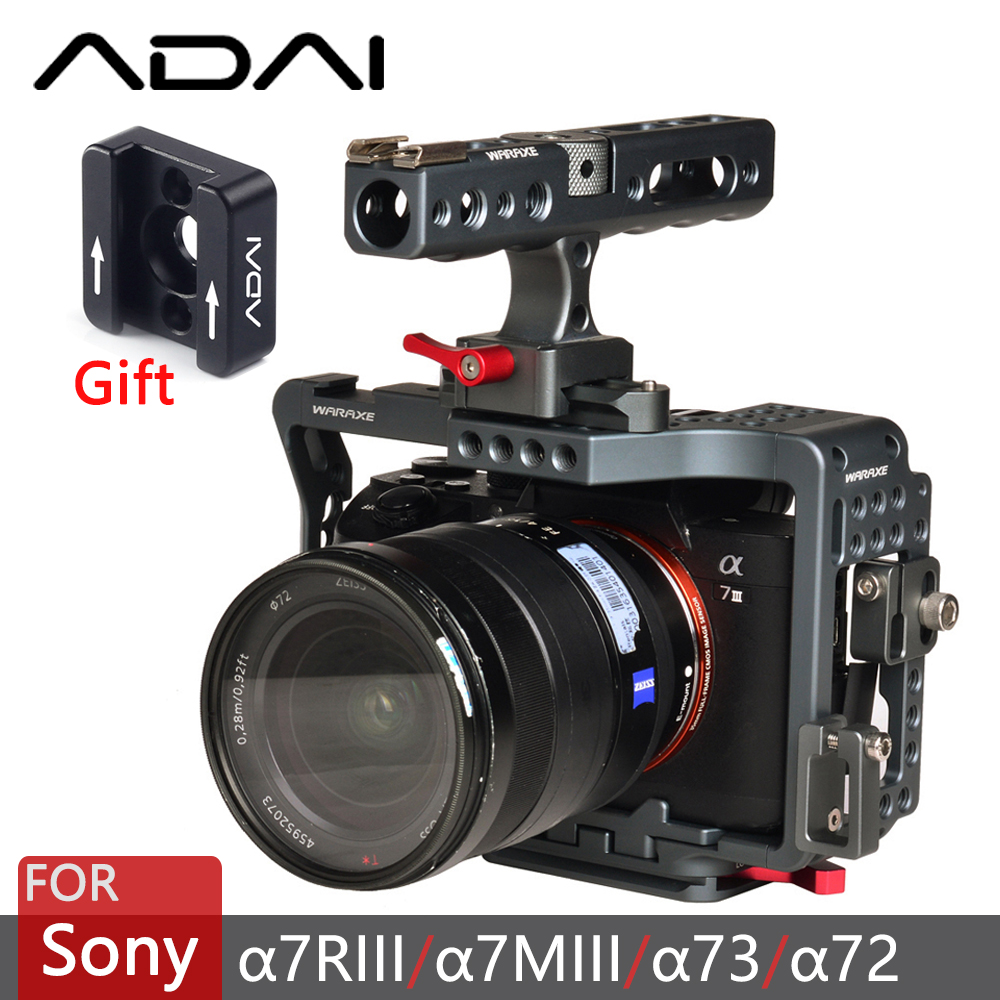 WARAXE A7R3 A73 A7III A7MIII3 Cage Kit Rig for Sony A7RIII/A7III Camera with Top Handle   4151-in Camera Cage from Consumer Electronics    1