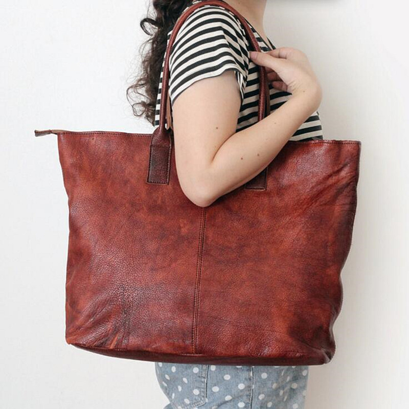 2017 Women Large Capacity Shoulder Bags High Quality Genuine Leather Ladies Cow Leather Bag Women Vintage Tote Handbags Bag herald fashion 2017 large capacity women shoulder bag high quality leather handbags for women brand ladies tote bag pu pouch
