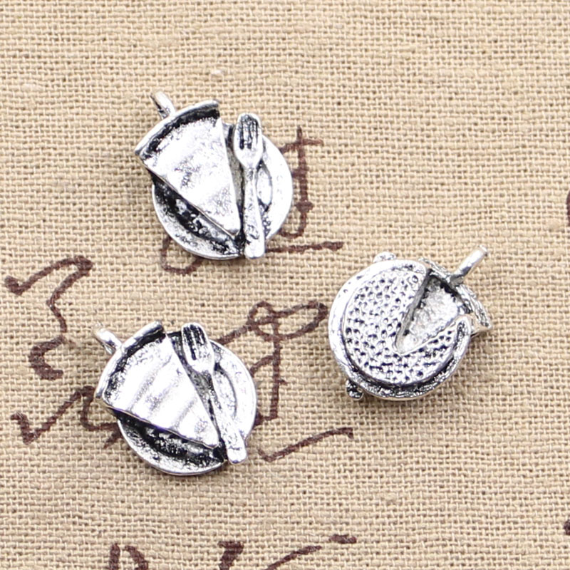 6pcs Charms slice of pie plate fork 19*13mm Antique Making pendant fit,Vintage Tibetan Silver,DIY bracelet necklace
