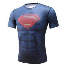Супергерой сжатия Футболка плотная рубашка Топ Дети Бэтмен Человек-паук Ironman Супермен Мстители бег спортивный короткий рукав Футболка