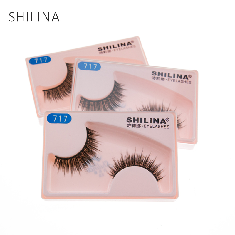 SHILINA Eye Lashes Natural Long Crisscross 3 Pair/Lot Eyelashes Synthetic Hair Hand Made False Eye Lashes For Extensions Makeup