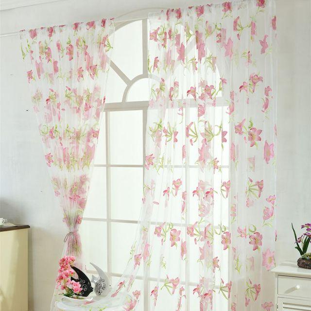 100*200 Cm Sheer Voile Fenster Vorhänge Vintage Lilie Muster Rohr Tüll Vorhang  Schlafzimmer Wohnzimmer