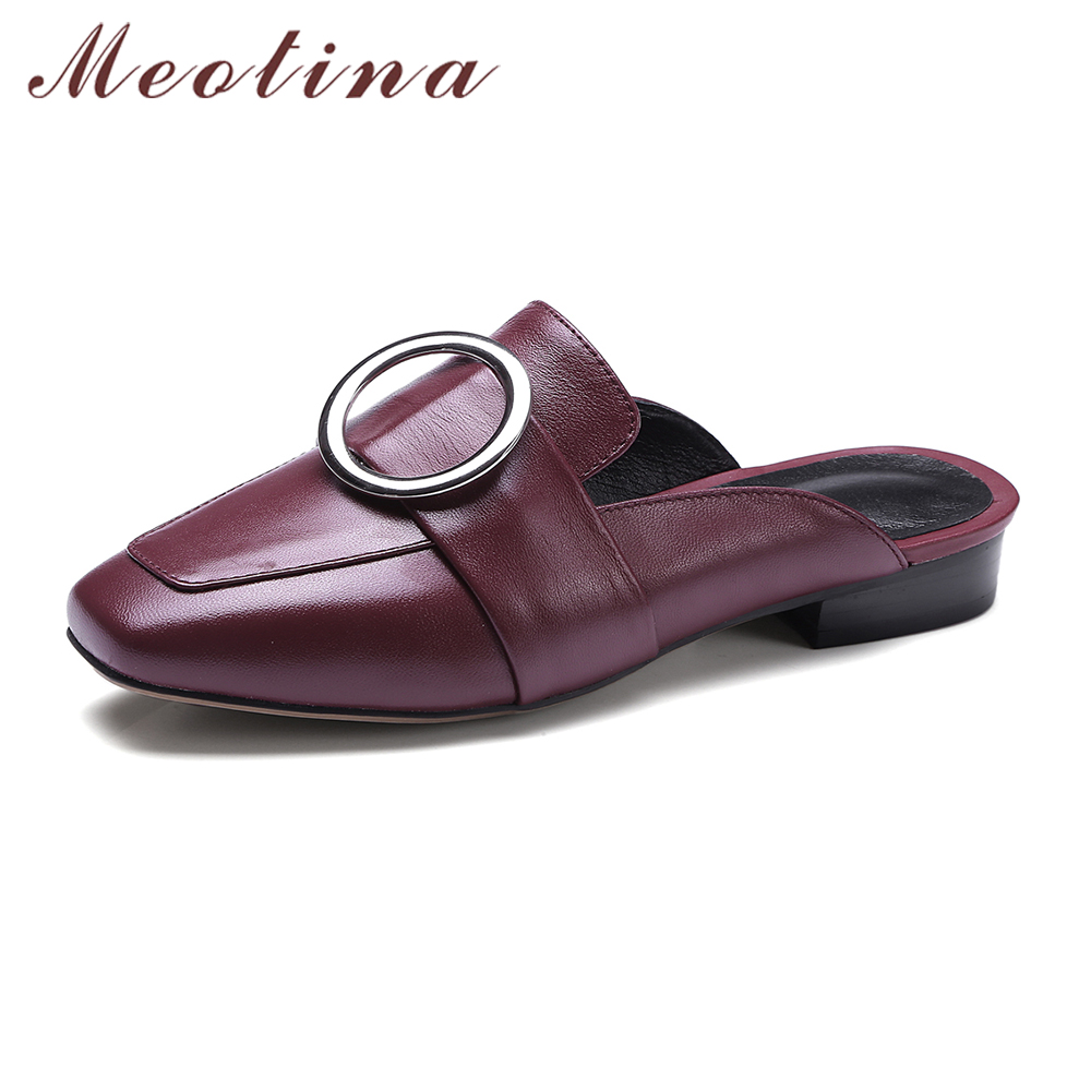 Meotina Genuine Leather Women Sandals Mules Shoes Female Summer Slippers Square Toe Sandals Vintage Low Heels Slides Wine Yellow цены онлайн