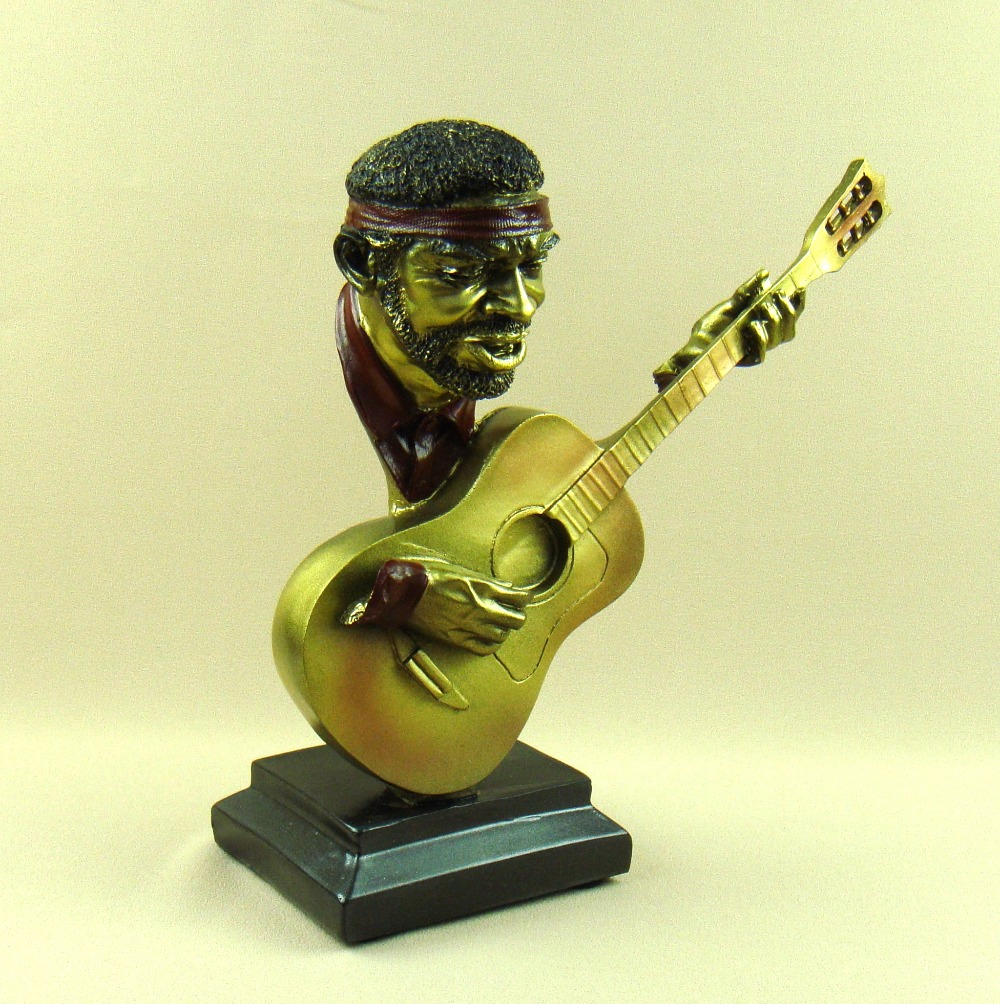 Reminiscent Jazz Guitarist Bust Statue Resin Music Character ...