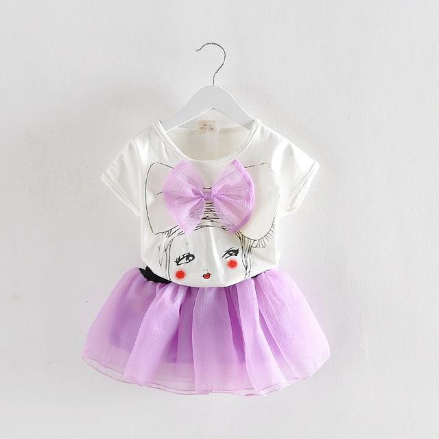 Bebê e crianças desenhos animados impresso roupas tutu vestido de bebê meninas roupas set + saia para altura 70 - 100 cm