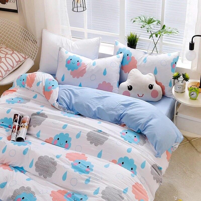 Pastoral Luxury Cotton Bedding Set Flower Printed Bedlinen Twin Queen King Size Bedsheet Pillowcases Duvet Cover Comforter Sets
