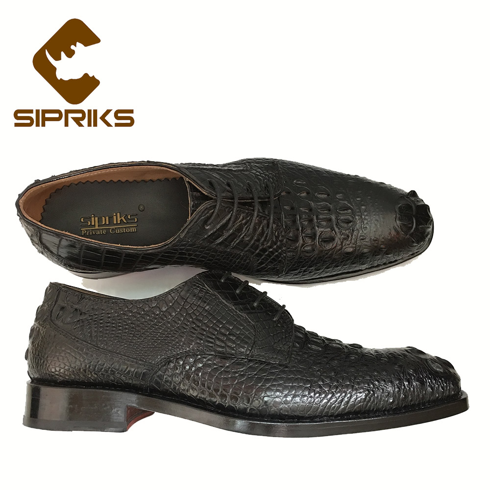 Useful Sipriks Mens Alligator Skin Shoes Male Croscodile Dress Shoes Goodyear Welted Shoes Italian Custom Boss Black Tan Leather Shoes Men's Shoes Formal Shoes