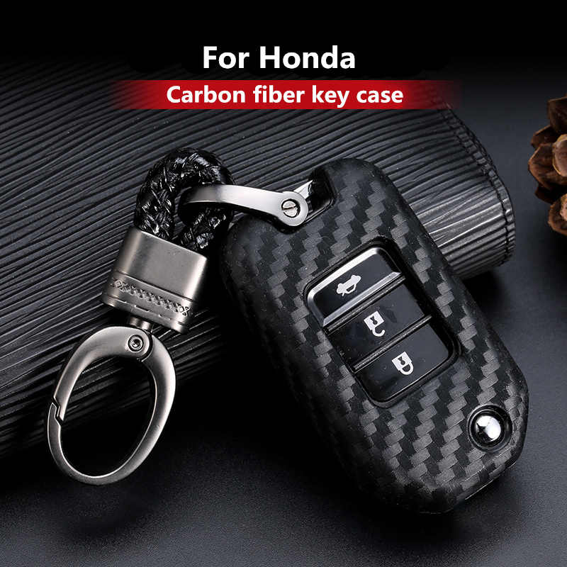 2019 New Carbon Fiber Silica gel Key Cover Case For Honda 2016 2017 CRV Pilot Accord Civic Car Shell Auto Key keychain keyring
