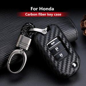 Image 1 - 2019 New Carbon Fiber Silica gel Key Cover Case For Honda 2016 2017 CRV Pilot Accord Civic Car Shell Auto Key keychain keyring