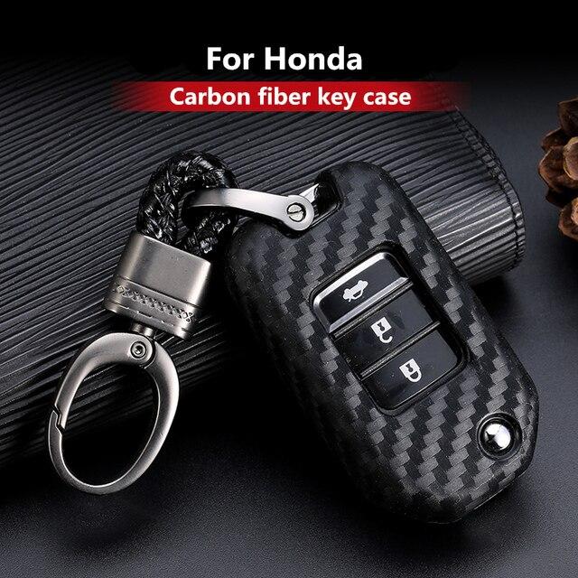 2019 New Carbon Fiber Silica gel Key Cover Case For Honda 2016 2017 CRV Pilot Accord Civic Car Shell Auto Key keychain keyring