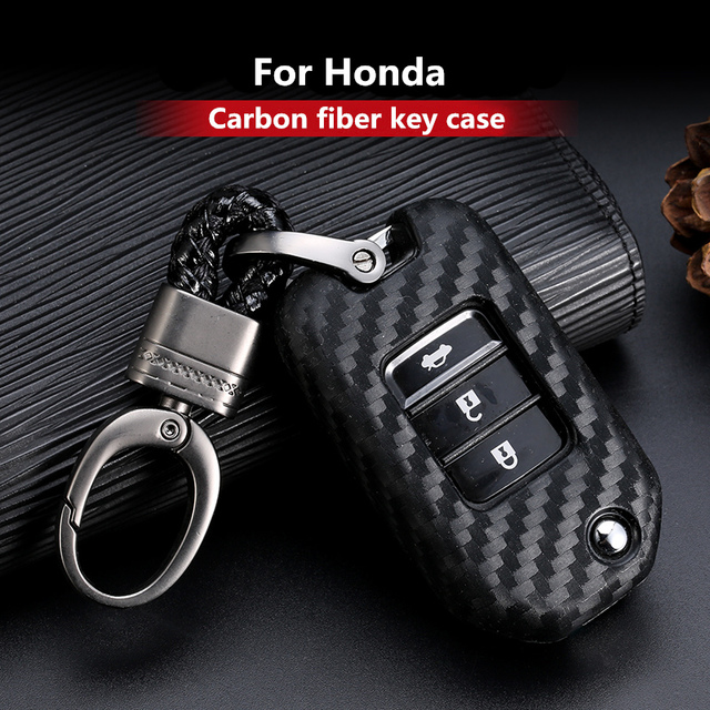 2019 nouvelle Fiber de carbone gel de silice etui clés pour Honda 2016 2017 CRV pilote Accord Civic voiture coquille Auto clé porte clés