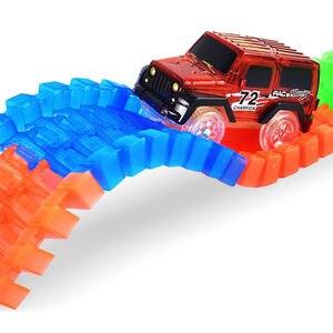 Image 3 - Magische Track Autos LED Licht Elektronik Auto Tracks Spielzeug Autos Teile Auto Schiene Rennstrecke kinder Spielzeug Für Jungen geburtstag Geschenke