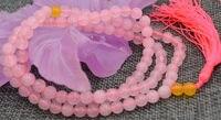 925シルバージュエリー上質ナチュラル6ミリメートル石仏教ピンククォーツ108数珠マラブレスレットチェーンナチュラルカラー