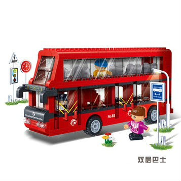Banbao 8769 Double-deckers Bus 412pcs Transport Plastic Model Building Block Sets Educational DIY Bricks Toys Christmas gift banbao 8313 290pcs fire fighting ladder truck building block sets educational diy bricks toys christmas kids gift